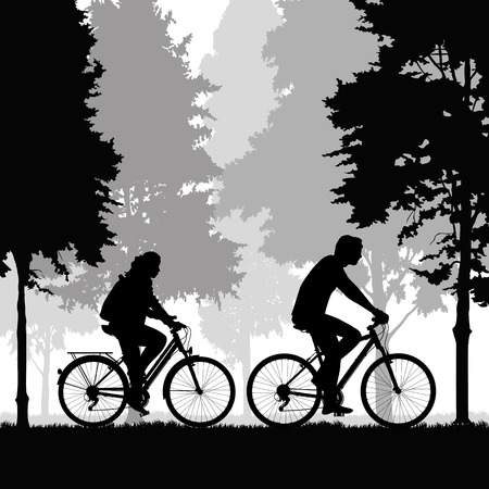 mountainbike: Couple of cyclists riding bicycles. Vector illustration