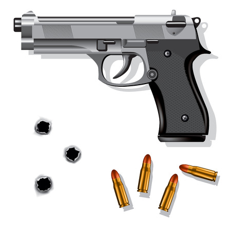 mano pistola: Mano pistola isolato su sfondo bianco con proiettili e fori di proiettile. Illustrazione vettoriale