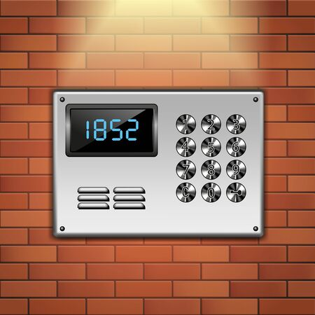 apartment bell: Close up of building intercom isolated on wall background. Vector illustration