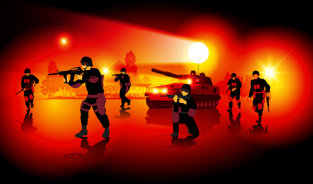 Silhouettes of fighting soldiers at night. Separate elements. Vector illustration Illustration
