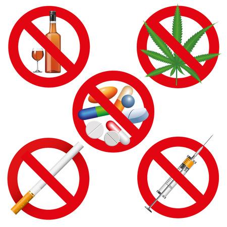 No drogas, tabaco y alcohol signos. Ilustración vectorial