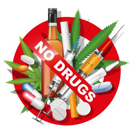alcool: Pas de drogues, le tabagisme et l'alcool signe. Vector illustration