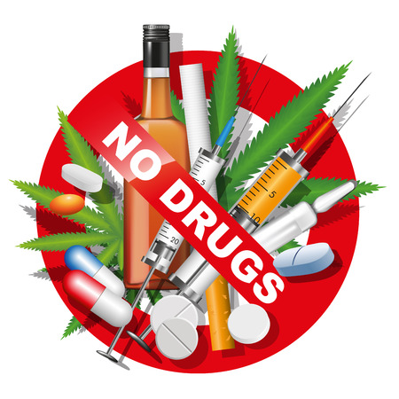 drogadiccion: Sin drogas, tabaco y alcohol signo. Ilustración vectorial