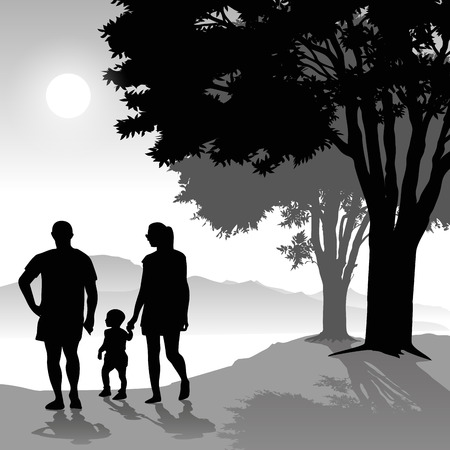 walking on hands: Silhouette of parents walking with child at sunset. Vector illustration