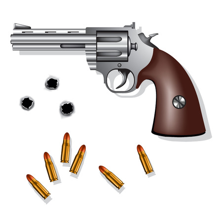 pistol gun: Old revolver isolated on white background with bullets and bullet holes. Vector illustration