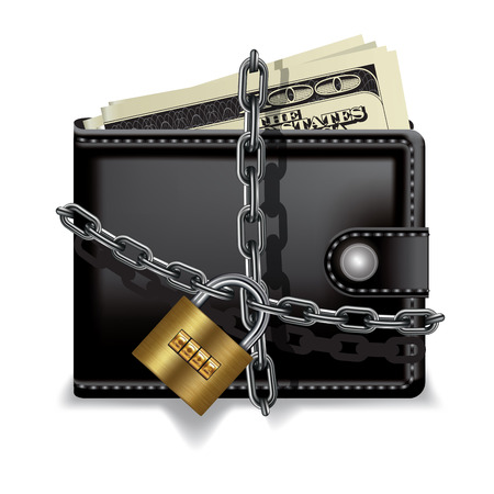 stop: Black locked wallet with money isolated on white. Vector illustration