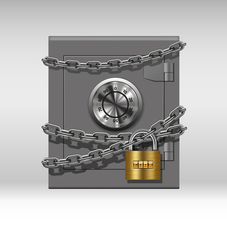 Security concept with metal safe, chain and padlock. Vector illustration Çizim