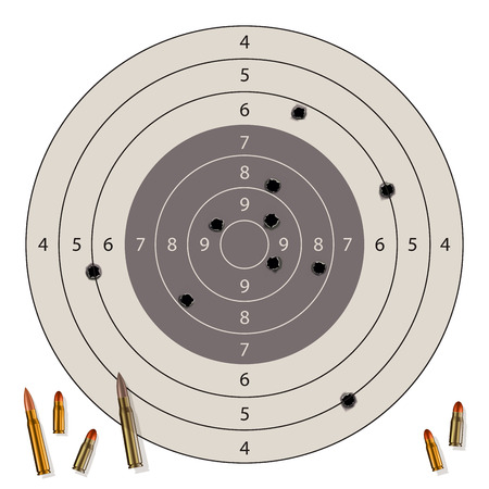 black hole: Target with bullet holes and bullets isolated on white. Vector illustration