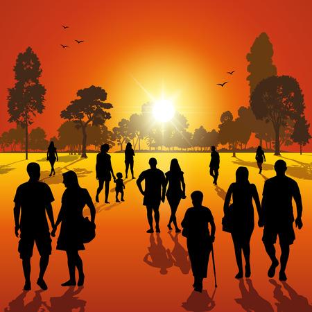 shadow people: Silhouettes of people walking in the park at sunset. Vector illustration