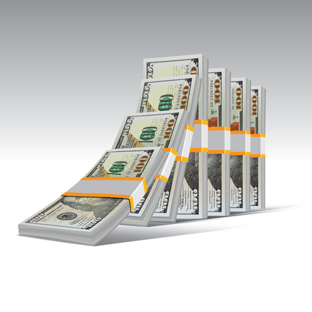 dollar bills: Domino effect with stacks of hundred dollar bills. Vector illustration. Illustration