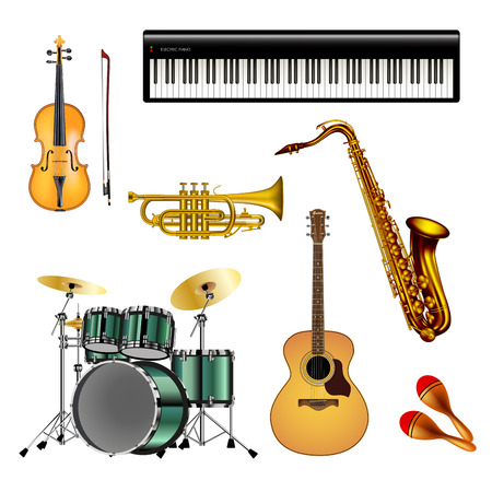 Musical instruments isolated on white background. Vector illustration. Çizim