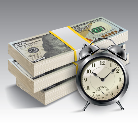 time money: Clock and money. Time is money concept. Vector illustration.