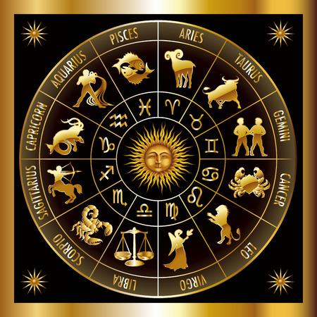 Okrąg z znaków zodiaku. Ilustracji wektorowych.