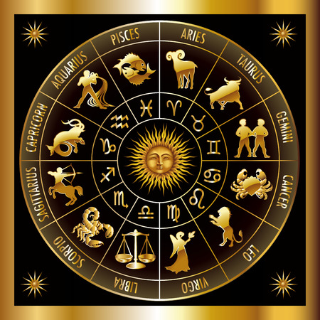 Circle with signs of zodiac. Vector illustration.