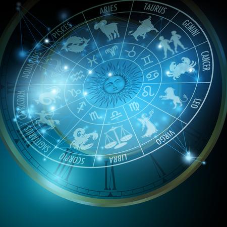 Koncepcja Astrologia. Horoskop ze znakami zodiaku. Ilustracja wektora