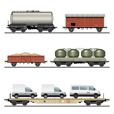 goods station: Collection of Train Cargo Wagons. Detailed vector Illustration