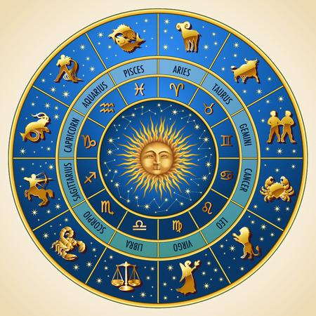 Círculo de los signos del zodiaco. Ilustración vectorial