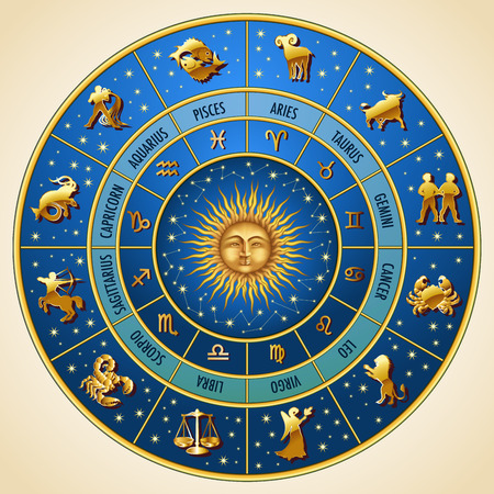 abstract zodiac: Circle of the zodiac signs. Vector Illustration