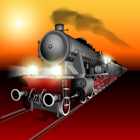 steam locomotives: Steam engine train at sunset. Detailed vector Illustration