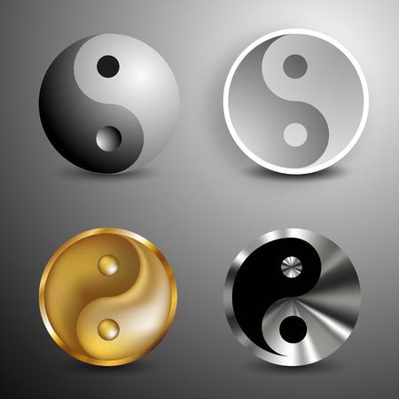 Yin and Yang symbols set. Vector Illustration Vector