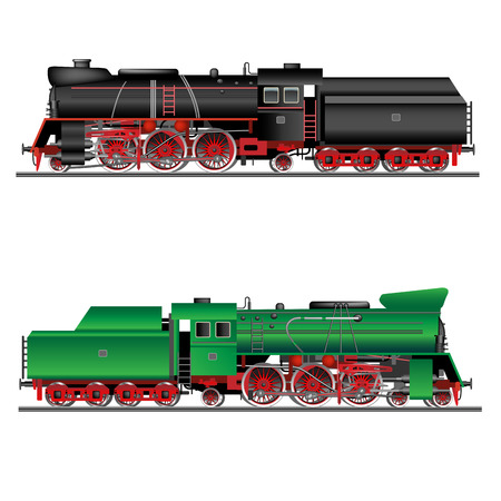 railway history: Train, old locomotive isolated on white. Detailed vector Illustration