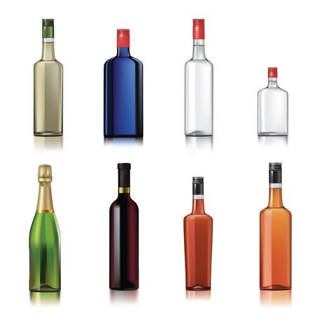 botella: Conjunto de botellas de alcohol aislados en blanco. Ilustración vectorial Vectores
