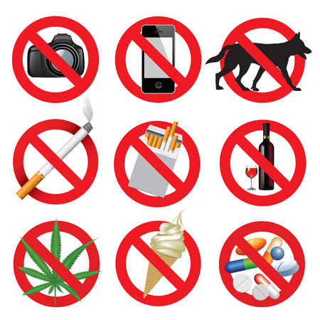 prohibition: Set of prohibition signs isolated on white. Vector illustration