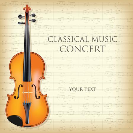 orquesta clasica: Cartel para un concierto de música clásica con el violín. Ilustración vectorial Vectores