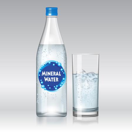 Vaso de agua y una botella de agua mineral aislado sobre fondo blanco. Ilustración vectorial