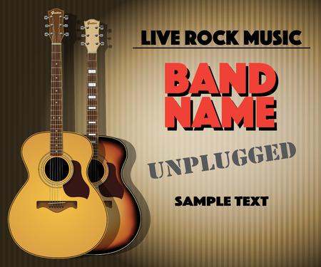 guitarra acustica: Cartel del concierto de la música rock desenchufado. Ilustración vectorial Vectores