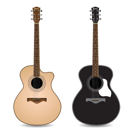 acoustic: Acoustic guitars isolated on  white background. Vector illustration