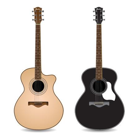 guitarra acustica: Las guitarras acústicas aislados sobre fondo blanco. Ilustración vectorial
