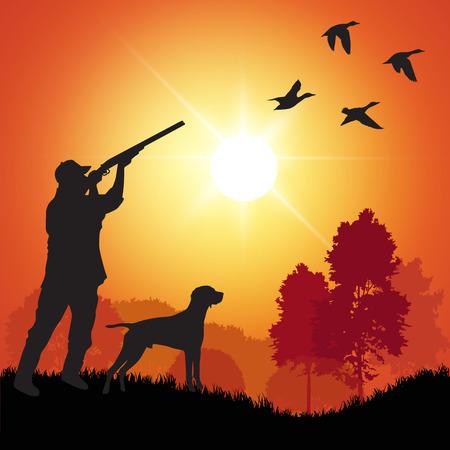 Silueta de los hombres en la caza del pato. Ilustración vectorial