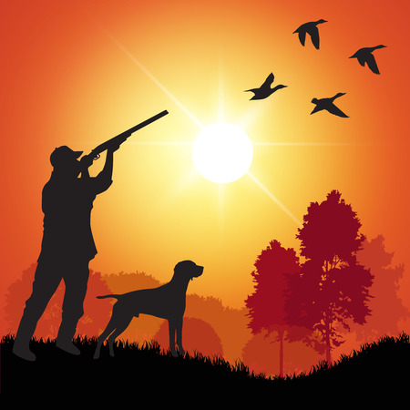 perro de caza: Silueta de los hombres en la caza del pato. Ilustración vectorial