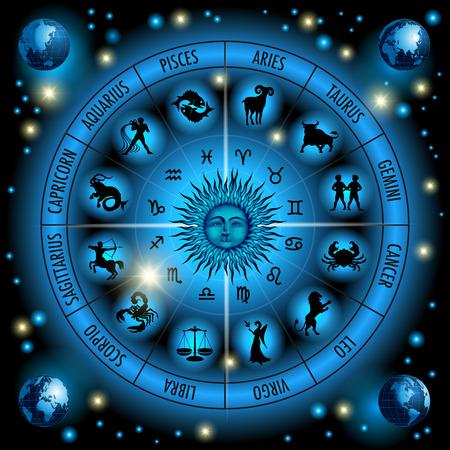gemelas: Círculo de los signos del zodiaco. Ilustración vectorial Vectores