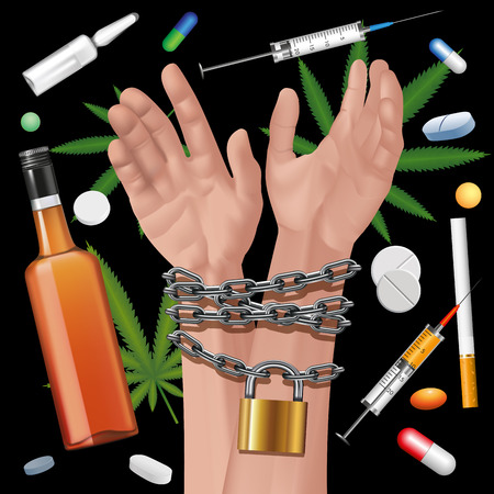 narcotics: Hands tied a metal chain on a drugs background. Editable elements. Vector illustration