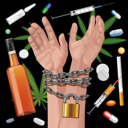 Mains liées une chaîne en métal sur un fond de la drogue. Éléments modifiables. Vector illustration Vecteurs