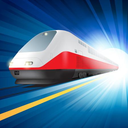 treno espresso: Alta velocità ferroviaria treno che passa con la sfuocatura di movimento. Illustrazione vettoriale
