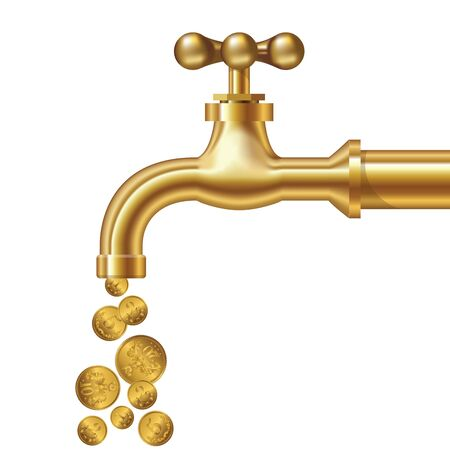 Golden coins fall out of the golden tap. Isolated on white. Vector illustration Stock Illustratie