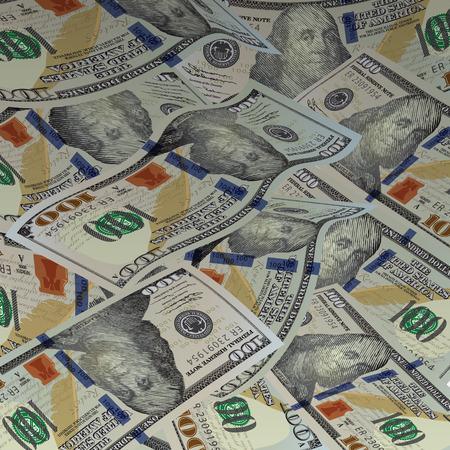 dollar bills: Background with money. New american hundred dollar bills. Vector illustration