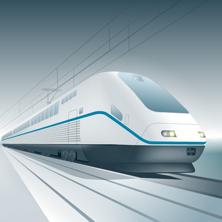Modern high speed train isolated on background. Vector illustration Vettoriali