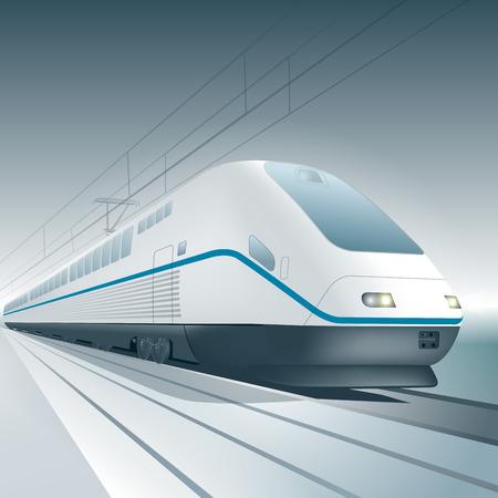 treno espresso: Moderno treno ad alta velocità isolato su sfondo. Illustrazione vettoriale Vettoriali