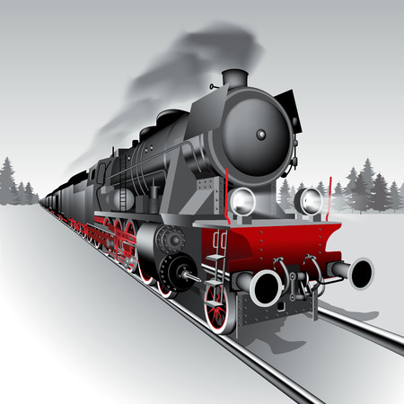 black train: Steam engine locomotive train. Detailed vector Illustration
