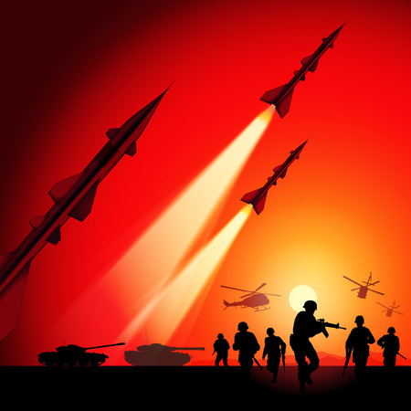 military silhouettes: Antiaircraft missiles rockets aimed to the sky.