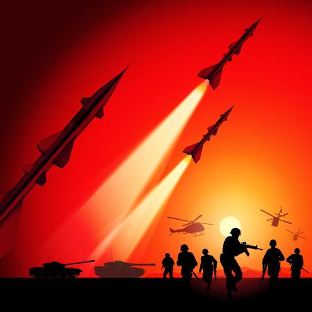 silhouette soldat: Missiles antiaériens roquettes visant le ciel. Illustration