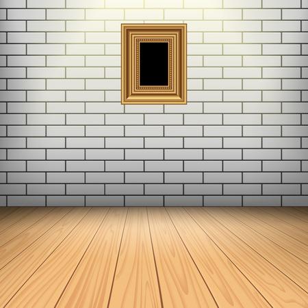 sitio interior con pared blanca de ladrillo piso de madera y el marco de oro