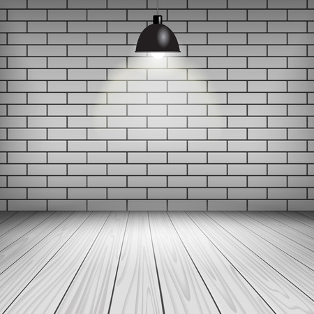 modern lamp: Room interior with white brick wall, ceiling lamp and wooden floor.