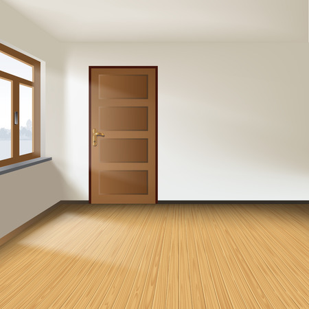 wooden houses: White empty interior with a door and window.  Illustration