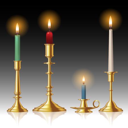 Retro kandelaars met kaarsen geïsoleerd op de achtergrond. Vector illustratie Vector Illustratie