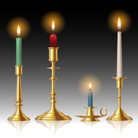 Retro candlesticks with candles isolated on background. Vector illustration